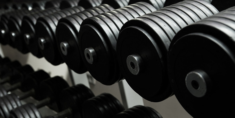 Barbell weights on a rack