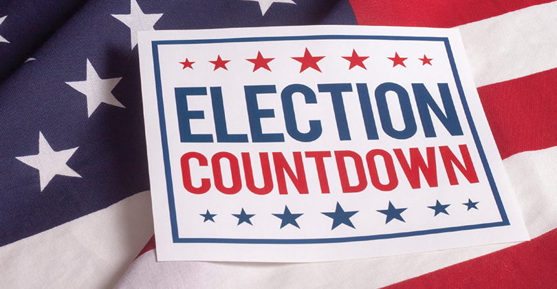 Election Countdown sign on U.S. flag