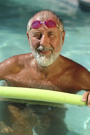 Older man in a swimming pool